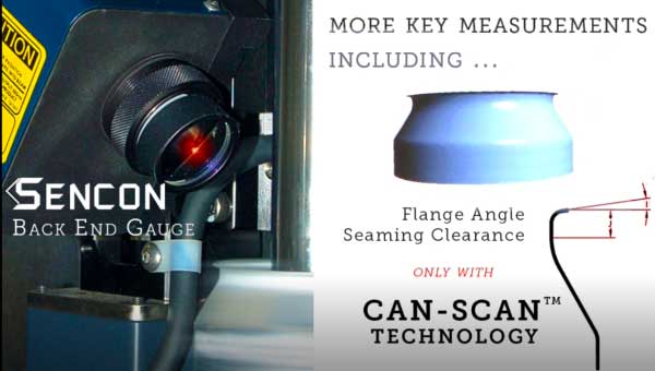 Sencon Back End Gauge uniquely measures flange angle and seaming clearance features